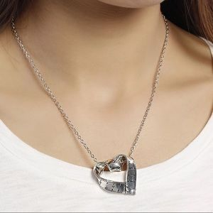 NEW Silver Tone Heart Sewing Pendant Necklace